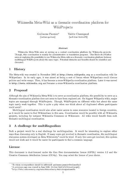 File:Wikimedia Meta-Wiki as a thematic coordination platform for WikiProjects (Wikimania07).pdf