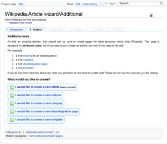 Wizard (software) - Wikipedia article creation wizard