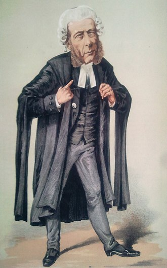 "Queen's Counsel - Caricature of Serjeant William Ballantine SL wearing court dress. Note the extremely small skullcap on the very top of the wig, a vestigal coif worn only by serjeants-at-law. Caption reads ""He resisted the temptation to cross-examine a Prince of the blood""; Vanity Fair, 5 March 1870"