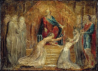 Judgment of Solomon - The Judgment of Solomon by William Blake in Tempera. Currently, the object is held at the Fitzwilliam Museum.