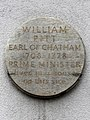 William Pitt Earl of Chatham 1708-1778 Prime Minister lived in a house on this site (North End).jpg