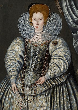 "Elizabeth ""Bess"" Throckmorton, Lady Raleigh, by Sir William Segar, dated 1595 William Segar Elizabeth Trockmorton.jpg"