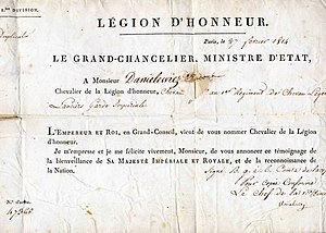 Wincenty Danilewicz - Wincenty Danilewicz (Danielewicz) French Order of Legion of Honour certificate of February 27, 1814. Source: Masłowski family archive.