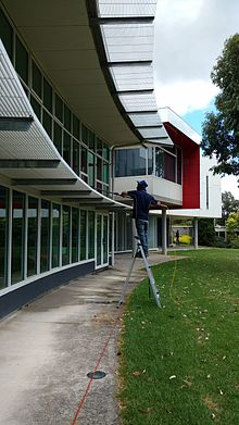 window cleaning yarra valley grammar school using ladder and water fed pole - Window Cleaner Job Description