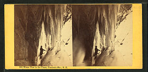 "Franconia Range - Stereoscopic image ""Winter view in the Flume, Franconia Mts."" by the Bierstadt Brothers"
