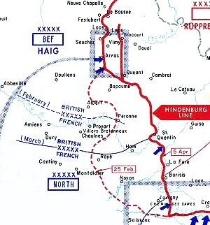 Operations on the Ancre, January–March 1917 - Image: Withdrawal to Hindenburg Line diagram 300px