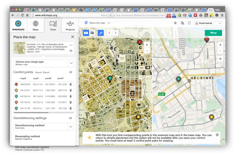 A tentative draft for an interface renewal for the Wikimaps Warper, making it more similar to the OSM iD editor