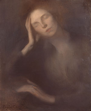 Eugène Carrière - Eugene Carrière, Woman Leaning on a Table, 1893