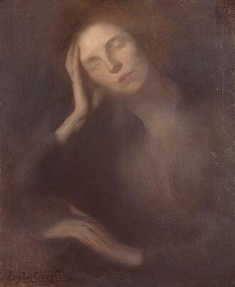 Eugène Carrière - Eugene Carrière, Woman Leaning on a Table, 1893