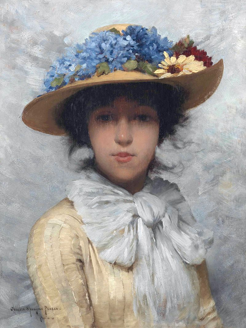 Woman in white dress and straw hat, by Charles Sprague Pearce.jpg