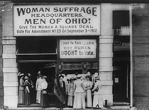 Feminist effects on society - Woman Suffrage Headquarters, Cleveland, 1912