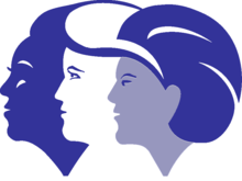 Logo of Women's Health Initiative, depicting women of three different races to indicate diversity