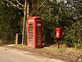 Woodlands, postbox No. BH21 55 and phone, Church Hill - geograph.org.uk - 1225827.jpg