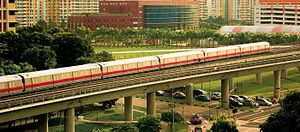 Woodlands MRT Station - View of the train heading towards Woodlands.