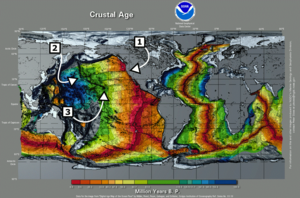 Global map labeled Crustal Age with callouts for specific areas of interest. There is an overall pattern of younger crust in the East Pacific and younger in the West.