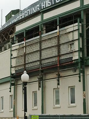 Wrigley Field renovations - The neon marquee was dismantled and removed for renovation and refurbishment. It was replaced prior to the start of the 2016 season.