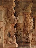 Yali pillars1 at Bhoganandishvara group of temples in Chikkaballapur district