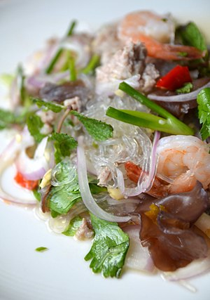 Thai cuisine - Yam wun sen kung: a spicy Thai salad with glass noodles and prawns