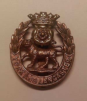 York and Lancaster Regiment - Cap badge of the York and Lancaster Regiment.