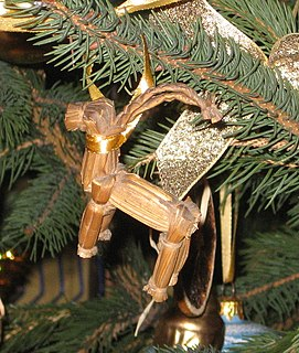 Yule Goat Northern European Yule/Christmas tradition; a decorative goat made out of straw, bound with red ribbons