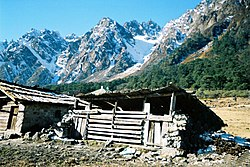 Mountain sheds like these are used by the rural populace as shelter for cattle in summer months as they take them for grazing in higher altitudes.