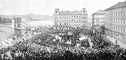 Ceremonial laying of the foundation stone of the National Theatre during the Czech National Revival, 1868 Zakladni kamen Narodniho divadla.JPG