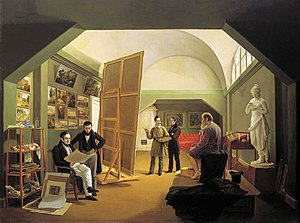 Kapiton Zelentsov - The Studio of Pyotr Basin (1833)