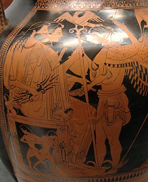 Nikoxenos Painter - Assembly of the Gods on Mount Olympus: Zeus and Hera enthroned, the servant of the Gods, Iris, attending to them; Front of a belly amphora circa 500 BC; Munich: Staatliche Antikensammlungen.