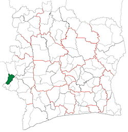 Location in Ivory Coast. Zouan-Hounien Department has retained the same boundaries since its creation in 2005.