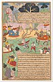 """Fighting Arjuna, Susarma Unleashes the Suparna Weapon which Invokes Garuda"", Folio from a Razmnama MET DP333011.jpg"
