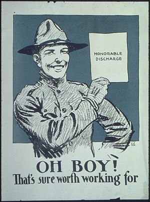 Military discharge - World War I poster depicting a soldier holding his honorable discharge.