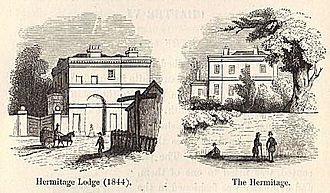 Lillie Road - 'the Hermitage' and Lodge c. 1840