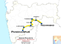 (Pandharpur - Nizamabad) Passenger train route map.png