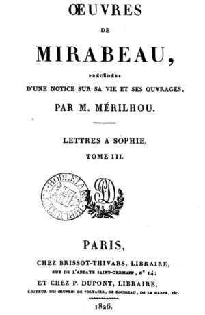 Joseph Mérilhou - Image: Œuvres de Mirabeau, précédées d'une notice par Mérilhou v 3 front page