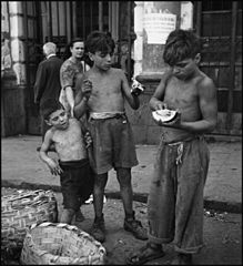 """Children In Naples, Italy"". Neapolitan boys. Photographed by Lieutenant Wayne Miller, July 1944. U.S. Navy Photograph, now in the collections of the National Archives.jpg"