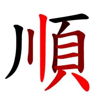 Stroke order - Stroke order for each component (川 and 頁) of the character 順 shown by shade going from black to red