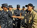 090707-N-5345W-103 - RADM Michelle Howard, commander, Expeditionary Strike Group (ESG) 2, visits with junior enlisted sailors during a visit to the amphibious dock landing ship USS Fort McHenry (LSD-43).jpg