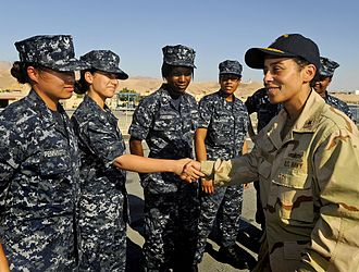 Michelle Howard - Image: 090707 N 5345W 103 RADM Michelle Howard, commander, Expeditionary Strike Group (ESG) 2, visits with junior enlisted sailors during a visit to the amphibious dock landing ship USS Fort Mc Henry (LSD 43)
