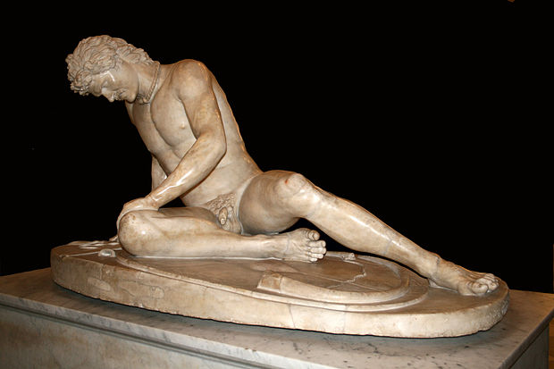 The Dying Gaul is a Roman marble copy of a Hellenistic work of the late 3rd century BC. Capitoline Museums, Rome. 0 Galata Morente - Musei Capitolini (1).jpg