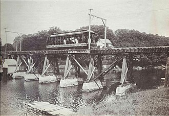 New London and East Lyme Street Railway - Image: 14 bench car on Smith Cove trestle, Waterford, 1906