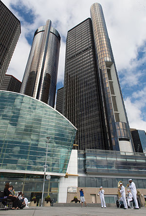 Renaissance Center - A naval band performs in front of the Renaissance Center in August 2015.