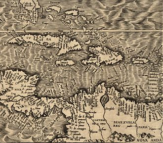 Curaçao - Map from 1562 with Curaçao indicated as Qúracao.