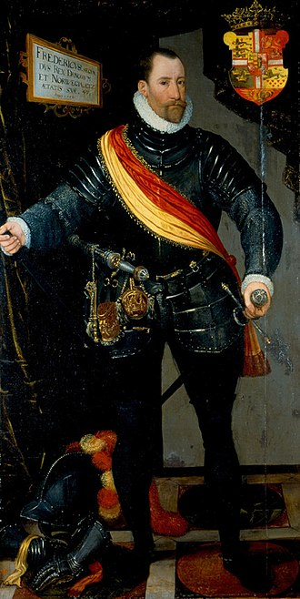 Frederick II of Denmark - Portrait by Hans Knieper or Melchior Lorck, 1581.