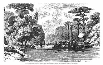 Roanoke Island - Wood Engraving of early settlers arriving in costal North Carolina from 1713.