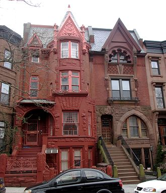 Gable - Decorative gable roof at 176–178 St. John's Place between Sixth and Seventh Avenue in the Park Slope neighborhood of Brooklyn, New York City