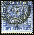 1860 3kr Baden 57 Heidelberg Mi10a.jpg