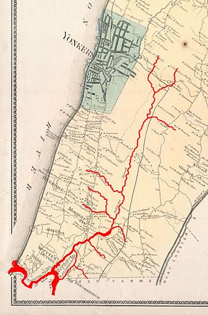 Tibbetts Brook - An 1867 map of Yonkers and Western Bronx, showing the course of Tibbetts Brook (in red) prior to modern development.