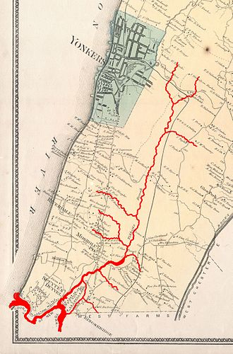 An 1867 map of Yonkers and Western Bronx, showing the course of Tibbetts Brook (in red) prior to modern development. 1867 Beers Map of Yonkers - Tibbetts Brook 02.jpg