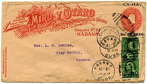 Stamped envelope - 1899 postal stationery envelope with an imprinted special request corner card of Miro y Otero from U.S. occupied Cuba.