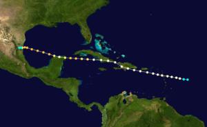 1909 Monterrey hurricane - Image: 1909 Atlantic hurricane 6 track